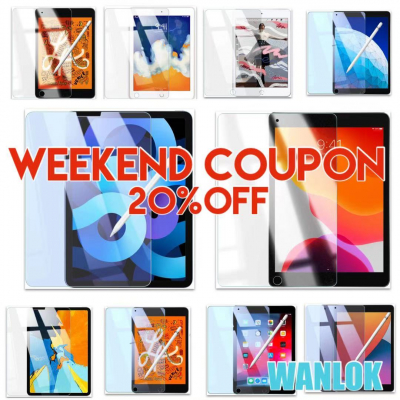 WANLOK 大好評の「週末限定クーポン祭り」を本日からアマゾンにてスタート。iPad AirやiPad Pro、iPad mini等、各種iPad対応の液晶保護ガラスフィルムを20%OFF大放出!